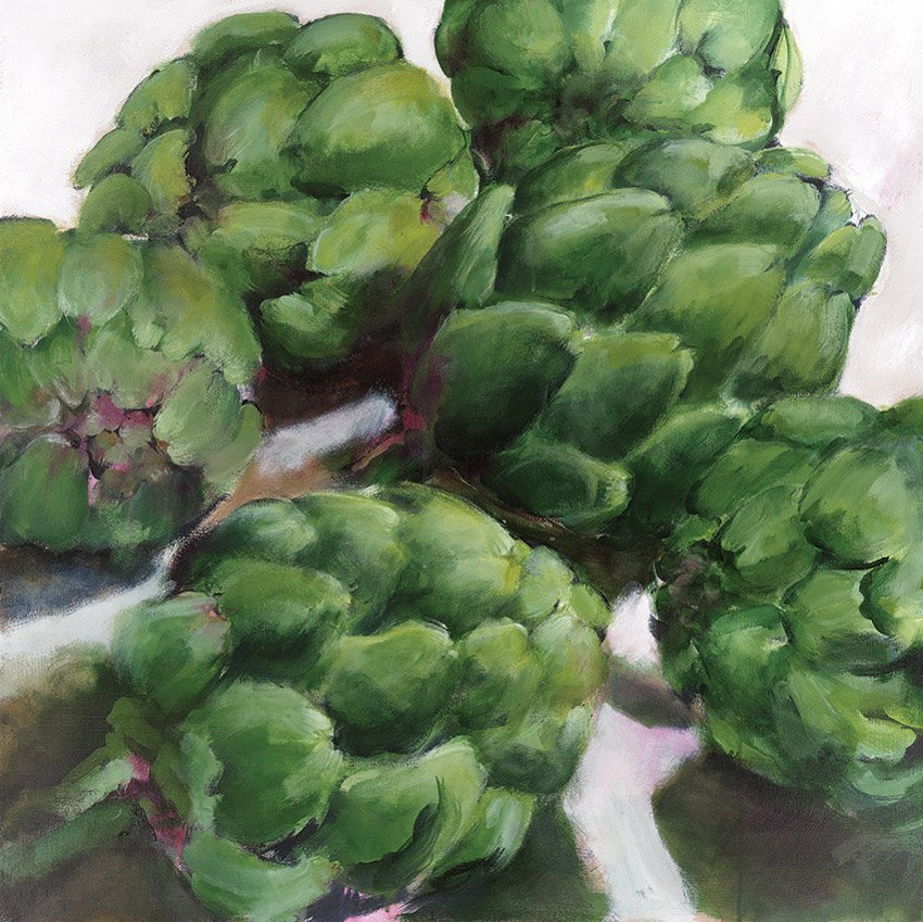 "Artichokes, 2014, acrylic on canvas, 36"" x 36"""