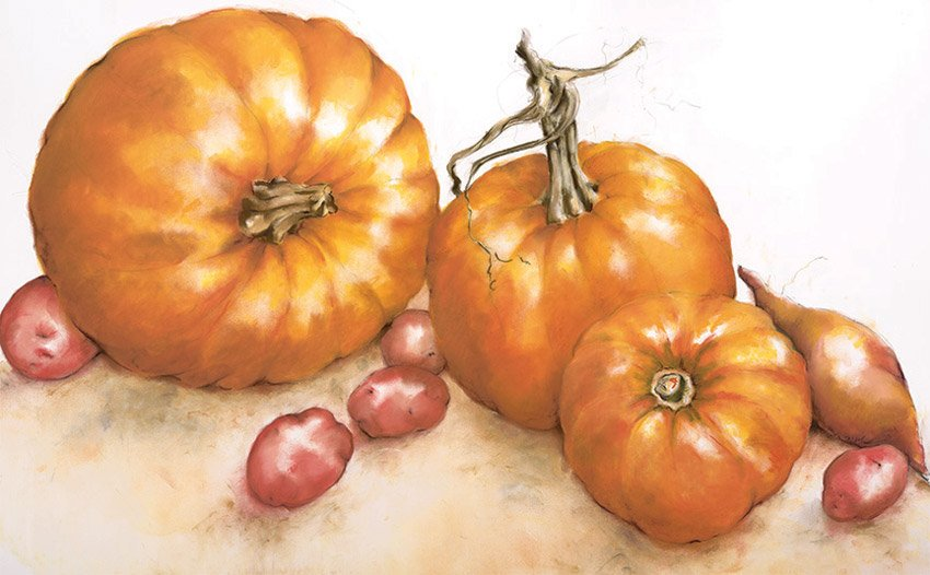 "Pumpkins, 2014, pastel on paper, 36"" x 50"""
